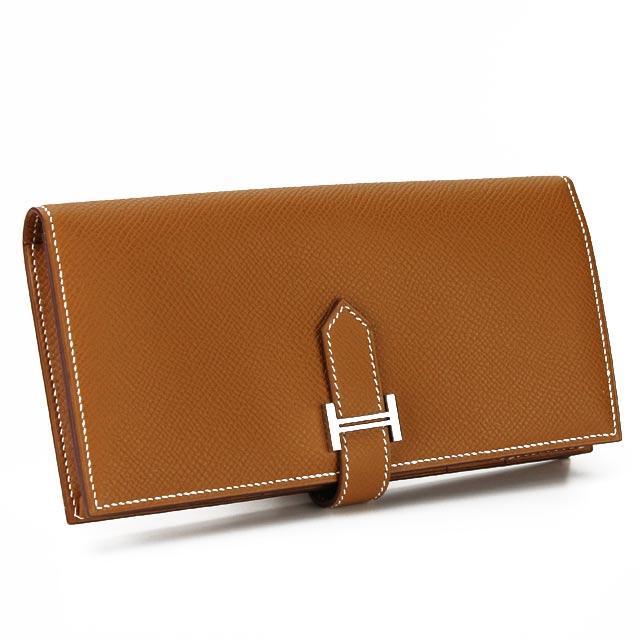 エルメス HERMES 財布 二つ折り 長財布 小銭入付き ベアンスフレ エプソン GOLD ブラウン系 レディース メンズ