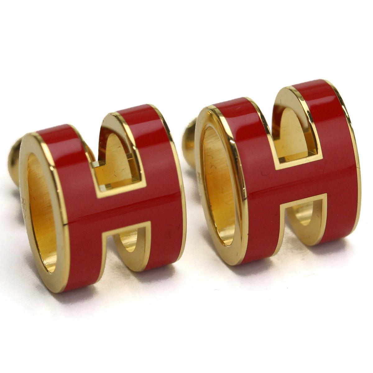 エルメス HERMES ピアス ポップH ポップアッシュピアス POP H ピアス H608001 (GD/RD) ゴールド/レッド
