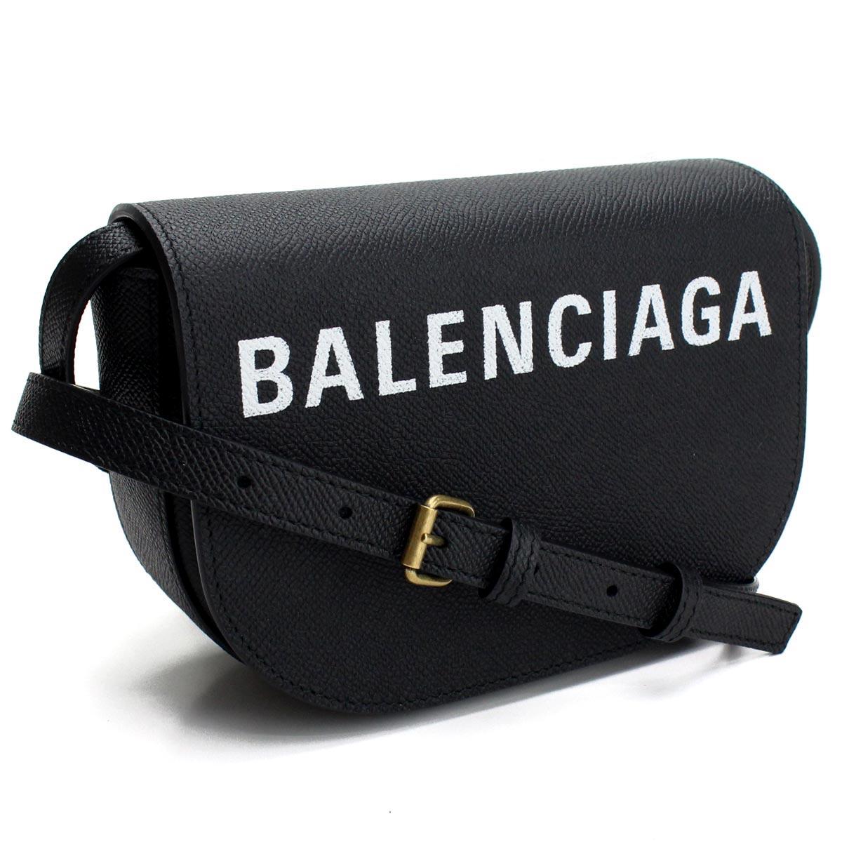 バレンシアガ BALENCIAGA VILLE ヴィル 斜め掛け ショルダーバッグ 550639 0OTDM 1000 BLACK/L WHITE ブラック レディース