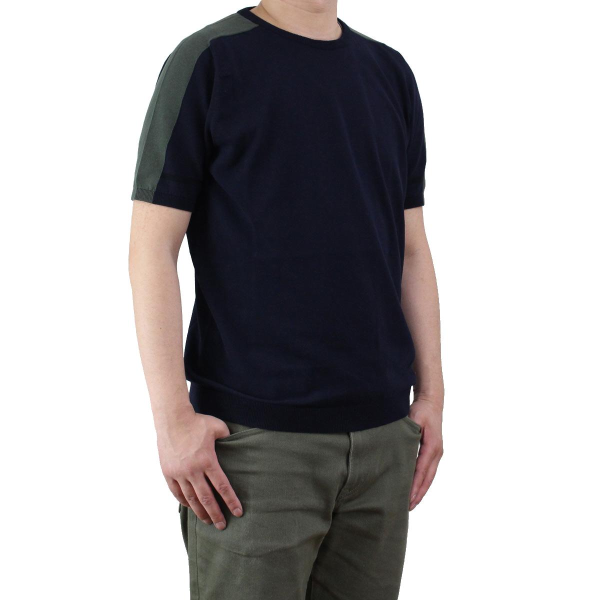 バーク Bark  メンズ 半袖 サマー セーター 71B6002 254 NAVY  メンズ OLS-4