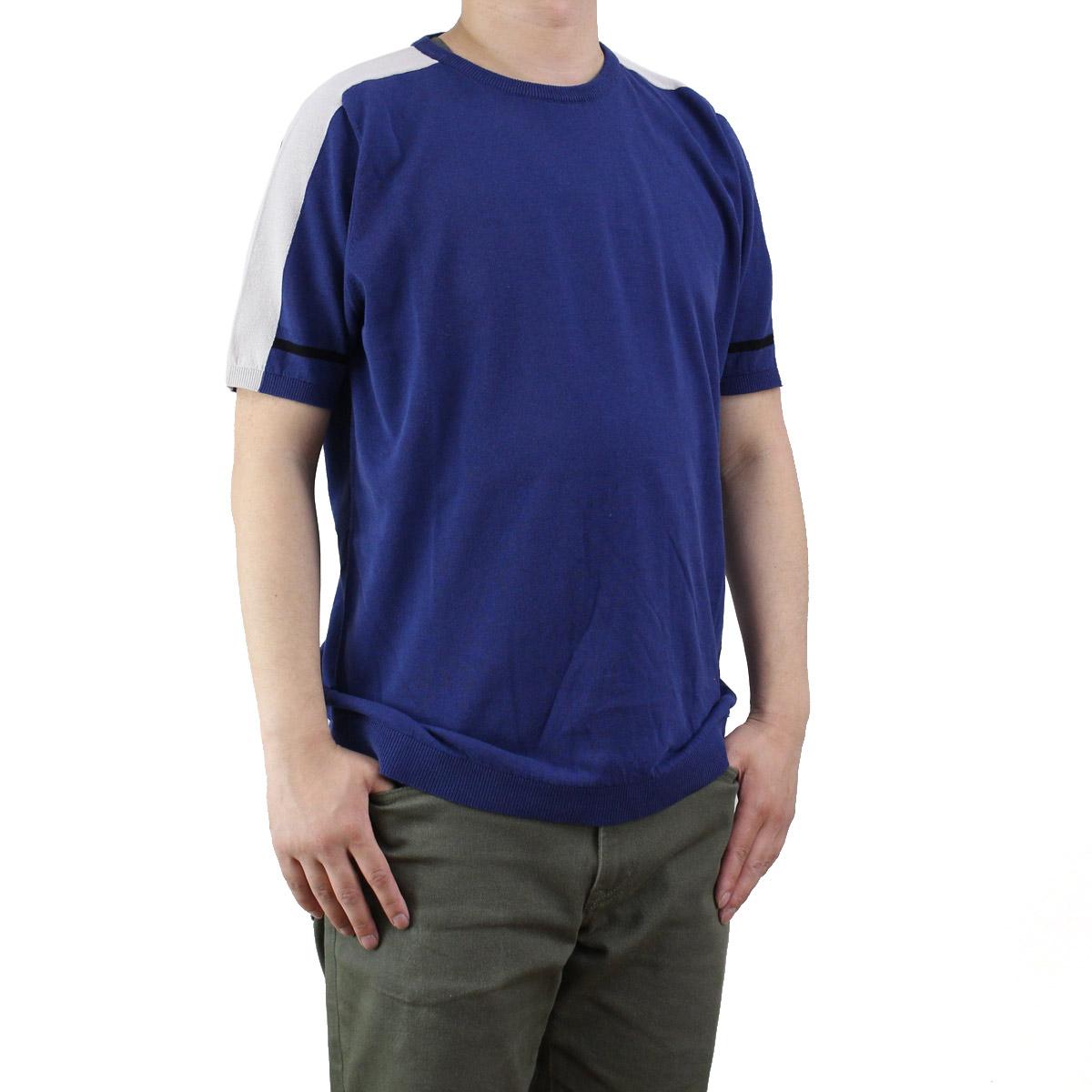 バーク Bark  メンズ 半袖 サマー セーター 71B6002 253 BLUE ブルー系 OLS-4