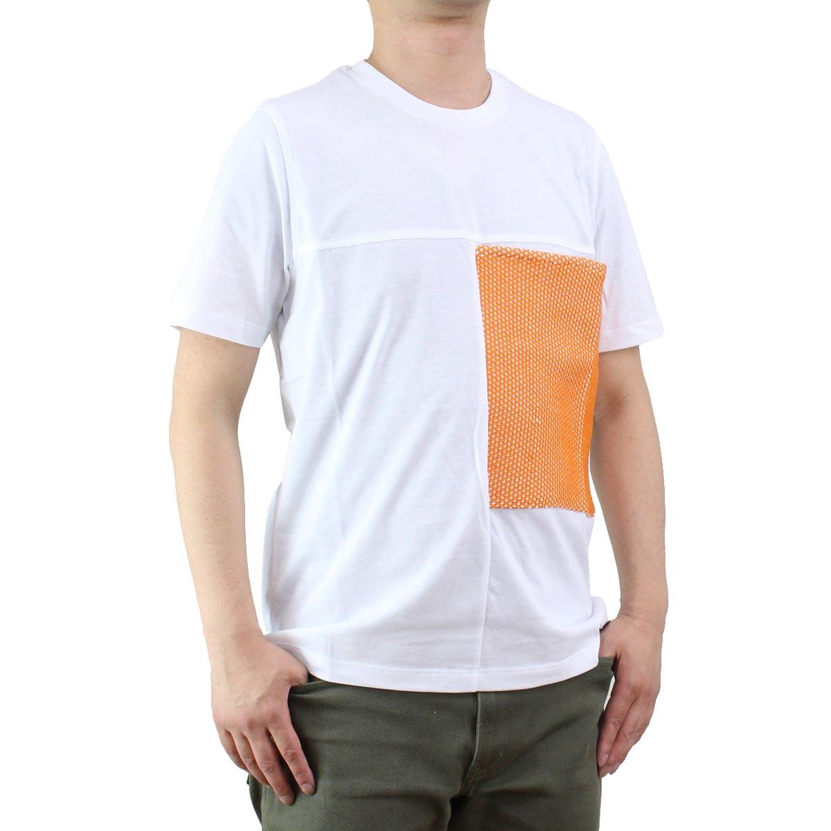 バーク Bark  メンズ クルーネック 半袖 Tシャツ 71B8706 258 ORANGE ホワイト系/オレンジ系  メンズ ティーシャツ ティーシャツ T shirt OLS-4  ts-01