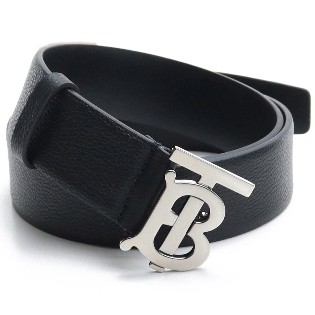 バーバリー BURBERRY メンズベルト モノグラムモチーフ グレイニーレザー ベルト8015599 A1189 BLACK ブラック メンズ