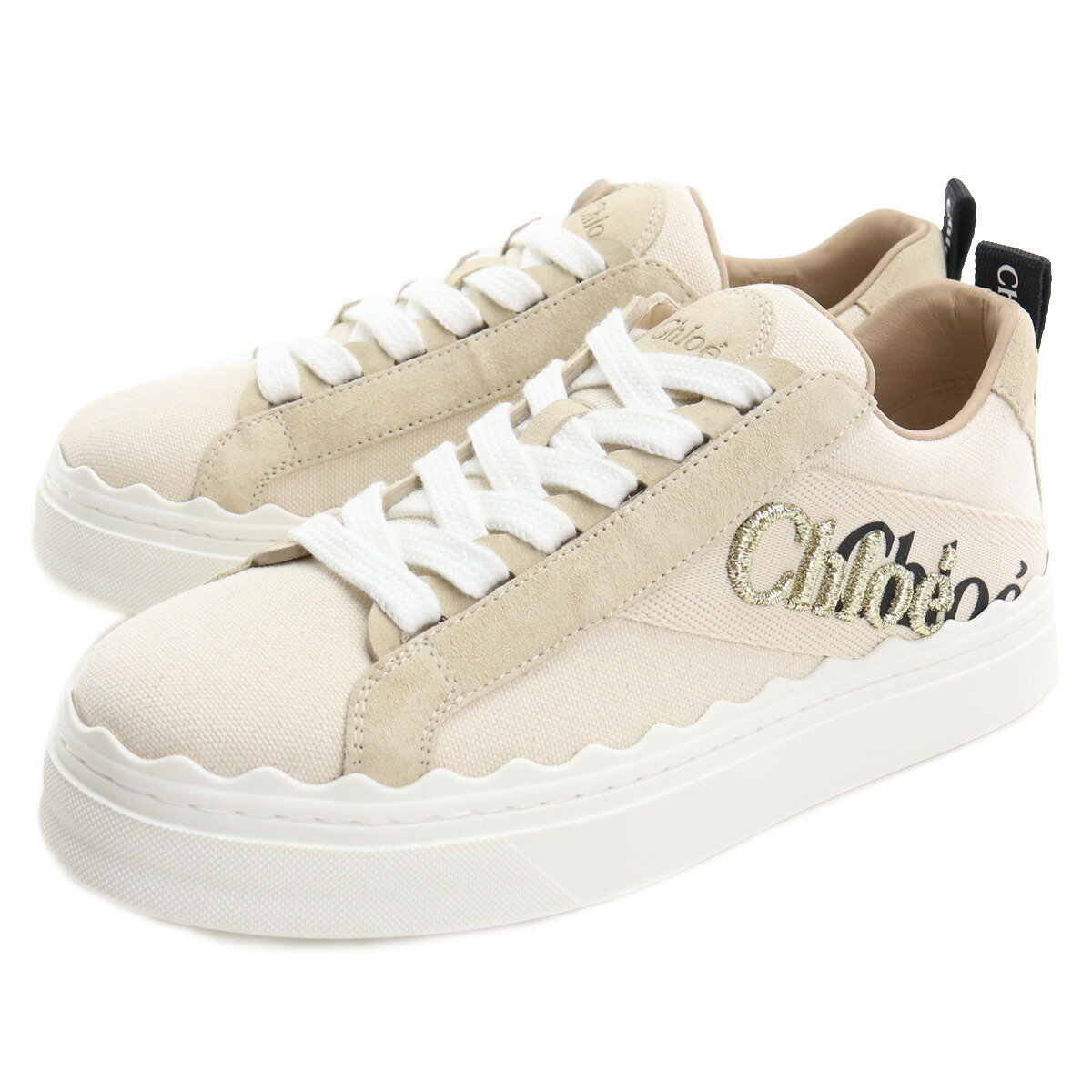 クロエ CHLOE  レディーススニーカー ブランドロゴ CHC21U108Q7 101 WHITE ベージュ系 shoes01