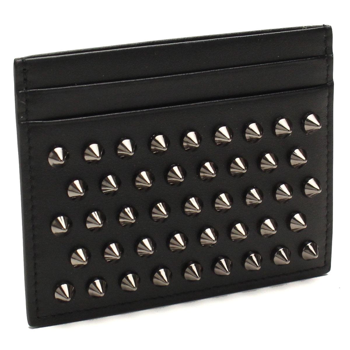 クリスチャン ルブタン Christian Louboutin カードケース 3165043 B078 BLACK/GUNMETAL ブラック レディース KIOS スタッズ パスケース スパイク クレジットカード ICカード 定期入れ