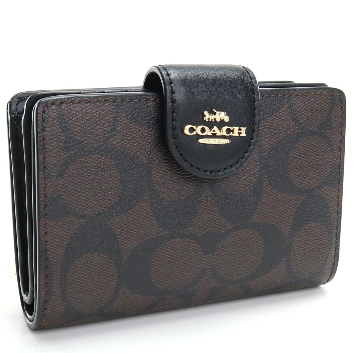 コーチ COACH  2つ折り財布 C0082 IMAA8 ブラウン系 ブラック