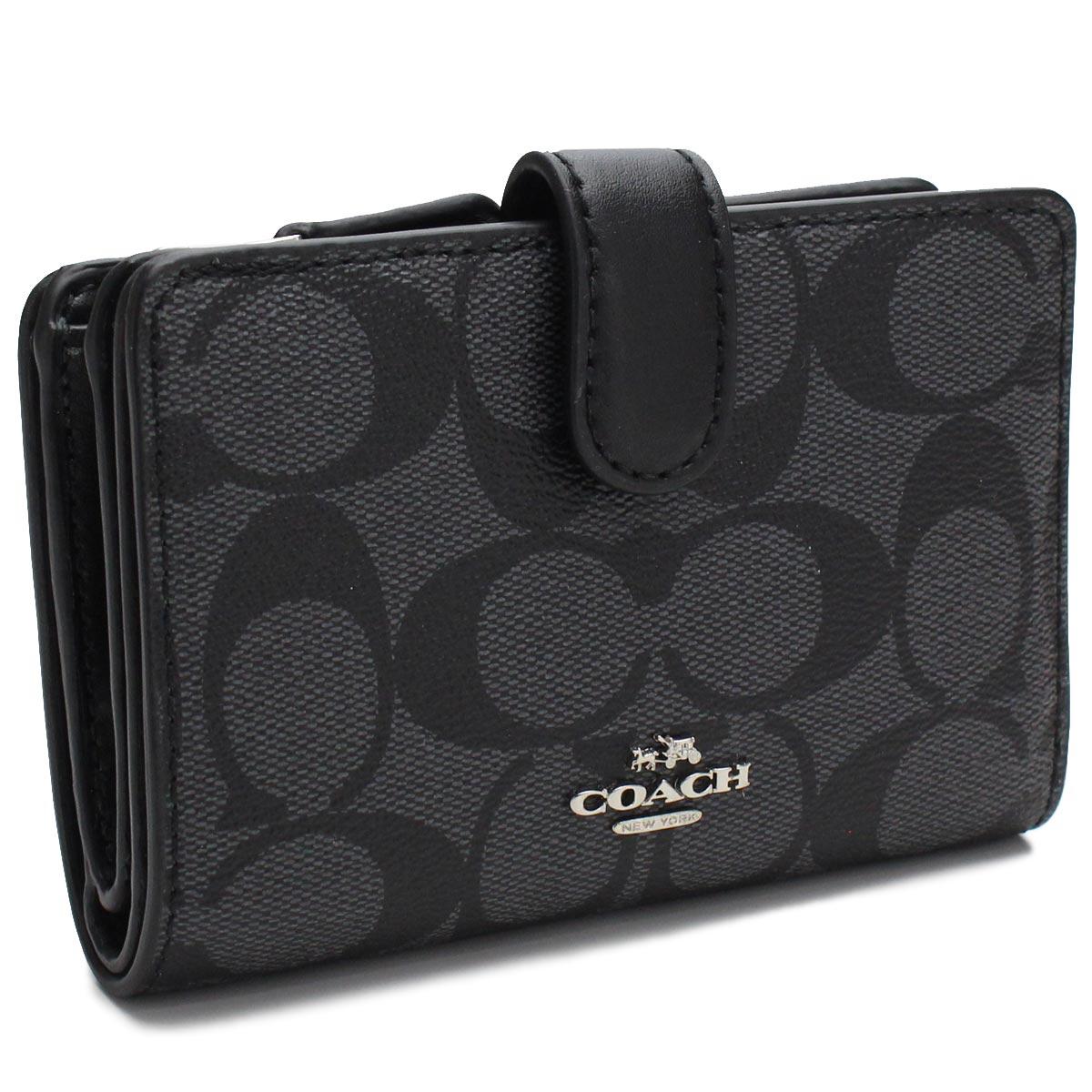 コーチ COACH 財布 2つ折り財布 小銭入れ付き コンパクト財布 F23553 SVDK6 ブラック レディース