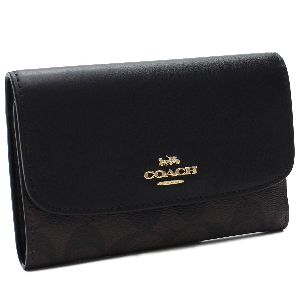 コーチ COACH 3つ折り財布 F32485 IMAA8 ブラック ブラウン系 レディース