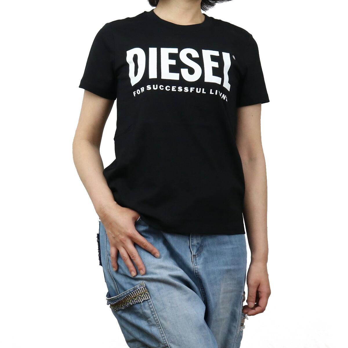 ディーゼル DIESEL レディース-Tシャツ 00SYW8 0CATJ 900 ブラック bos-43 apparel-01 ts-01 レディース