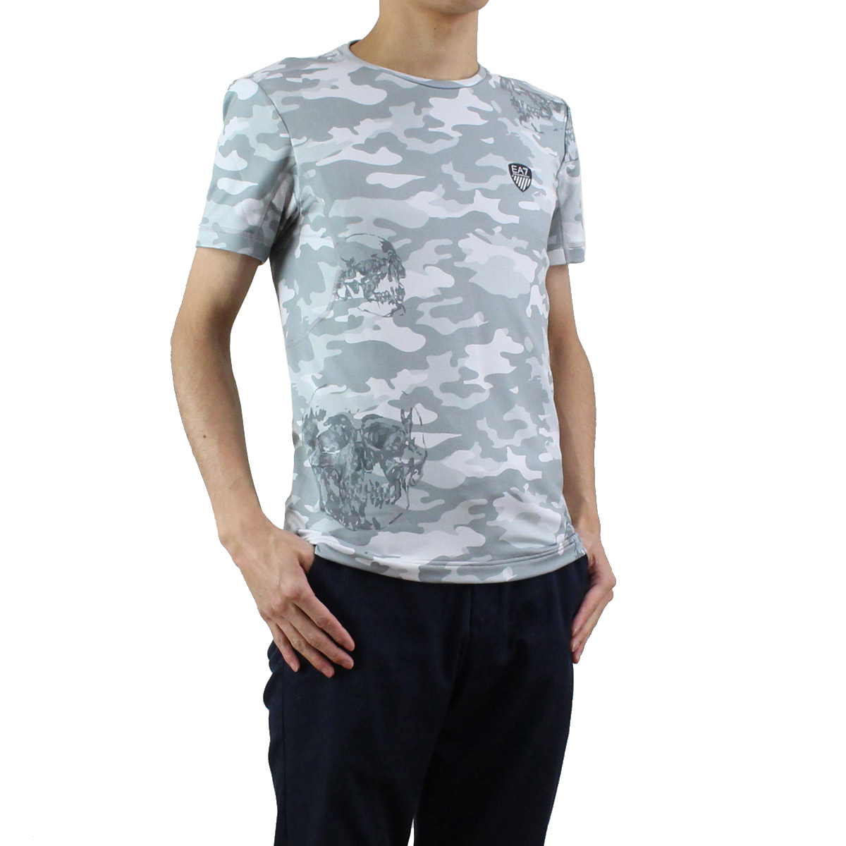 大幅値下げ!販売価格11,800円→7,700円 イーエーセブン EA7 メンズ グレーカモフラ クルーネック Tシャツ 6YPT71 PJF8Z 2924 GREY CAMOU マルチカラー メンズ