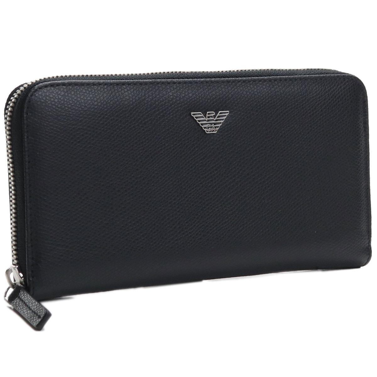 エンポリオ・アルマーニ EMPORIO ARMANI ラウンドファスナー長財布 Y4R255 YAQ2E 81072 BLACK ブラック メンズ ブランド財布