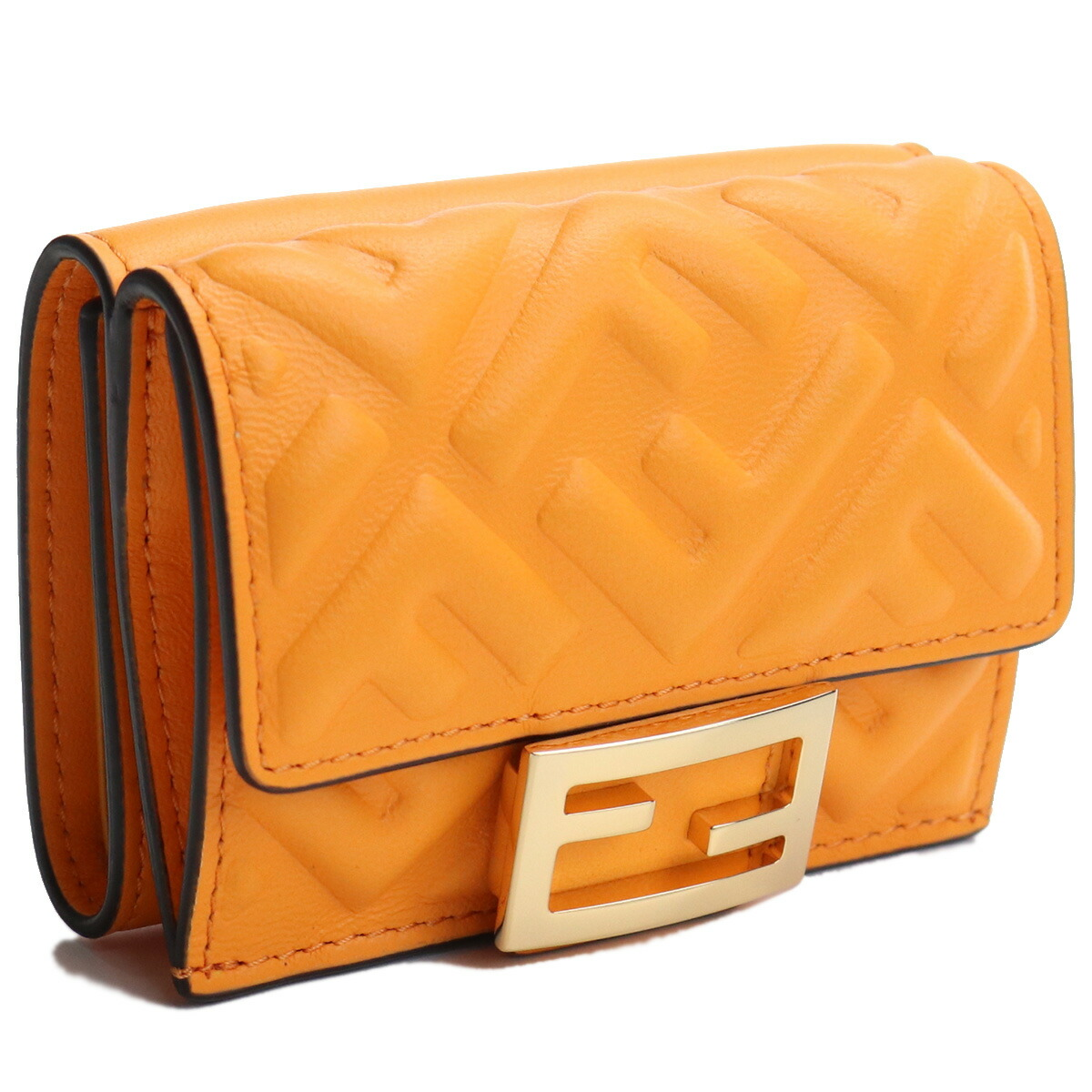 フェンディ FENDI  3つ折り折財布 ブランド財布 ブランドミニ財布 コンパクト財布 ブランドロゴ  ライトブルー マイクロ BAGUETTE 8M0395 AAJD F1DZH オレンジ系 bos-15 gsw-2