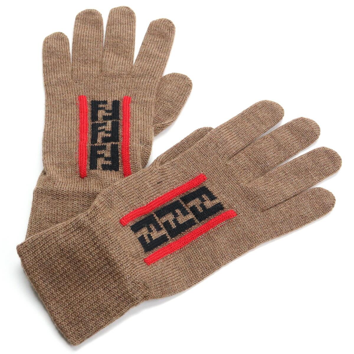 フェンディ FENDI メンズ-グローブ FFロゴ ウール FXY010 AA11 F19SE ブラウン系 bos-15 warm-03 glove-01 メンズ