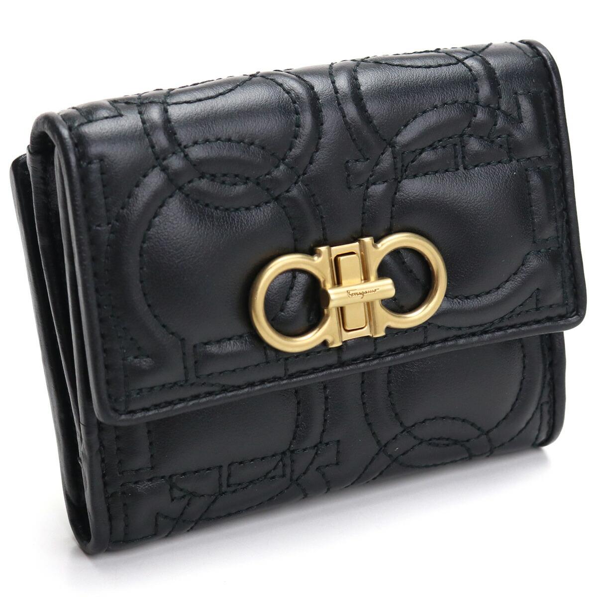 フェラガモ FERRAGAMO  2つ折り財布 ブランド財布 ミニ財布 コンパクト財布 22-D339 0695499 NERO ブラック gsw-2