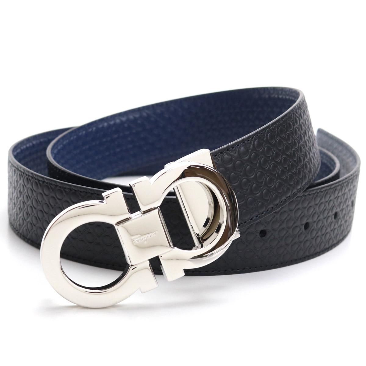 フェラガモ FERRAGAMO メンズベルト 67-9535 0714462 NERO/FJORD BLUE ブラック ネイビー系 メンズ