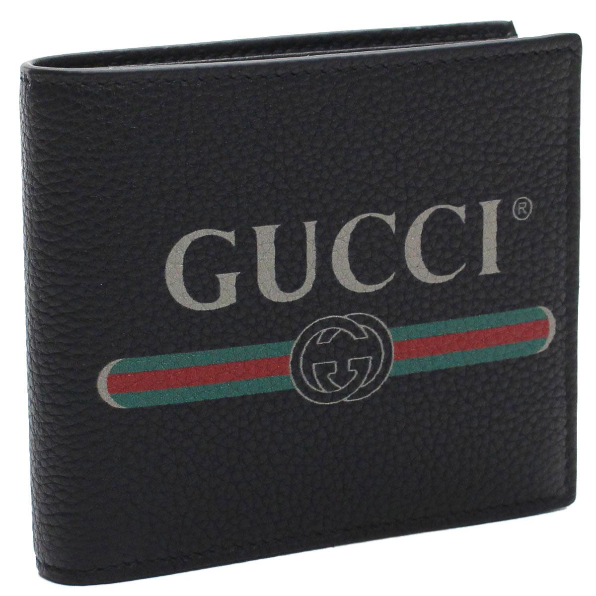 グッチ GUCCI GUCCI PRINT ヴィンテージロゴ プリント 2つ折り財布 コンパクト財布 496316 0GCAT 8163 ブラック