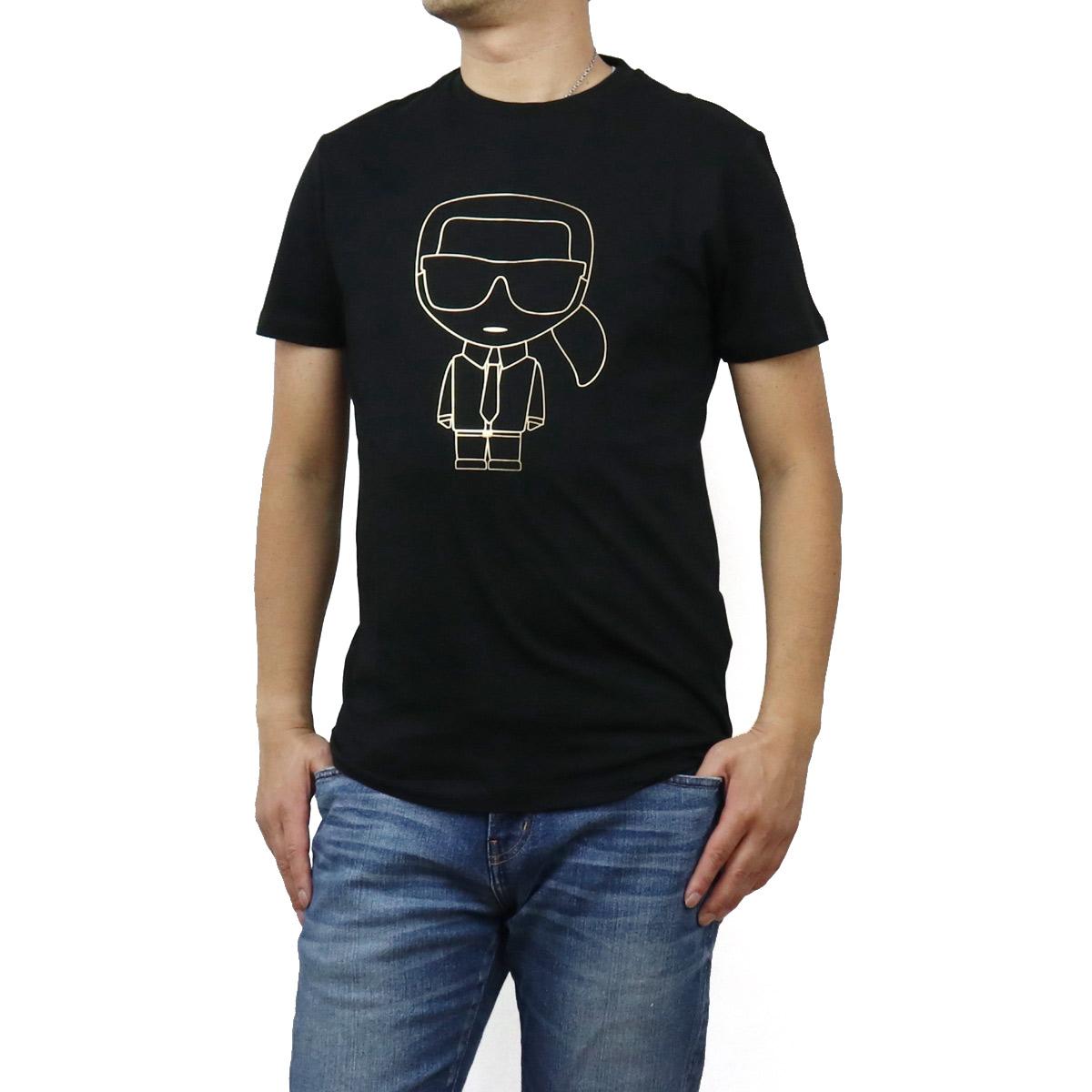 カール・ラガーフェルド Karl Lagerfeld メンズ-Tシャツ IKONIK 755040 502224 990 BLACK ブラック メンズ bos-12 apparel-01
