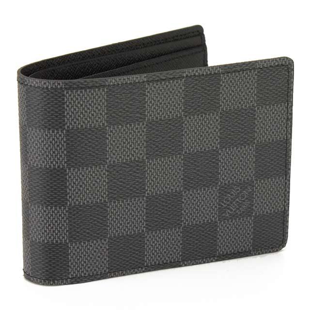 ルイ・ヴィトン (LOUIS VUITTON) ダミエグラフィット二つ折り財布 N62663 ブラック系 メンズ  men's