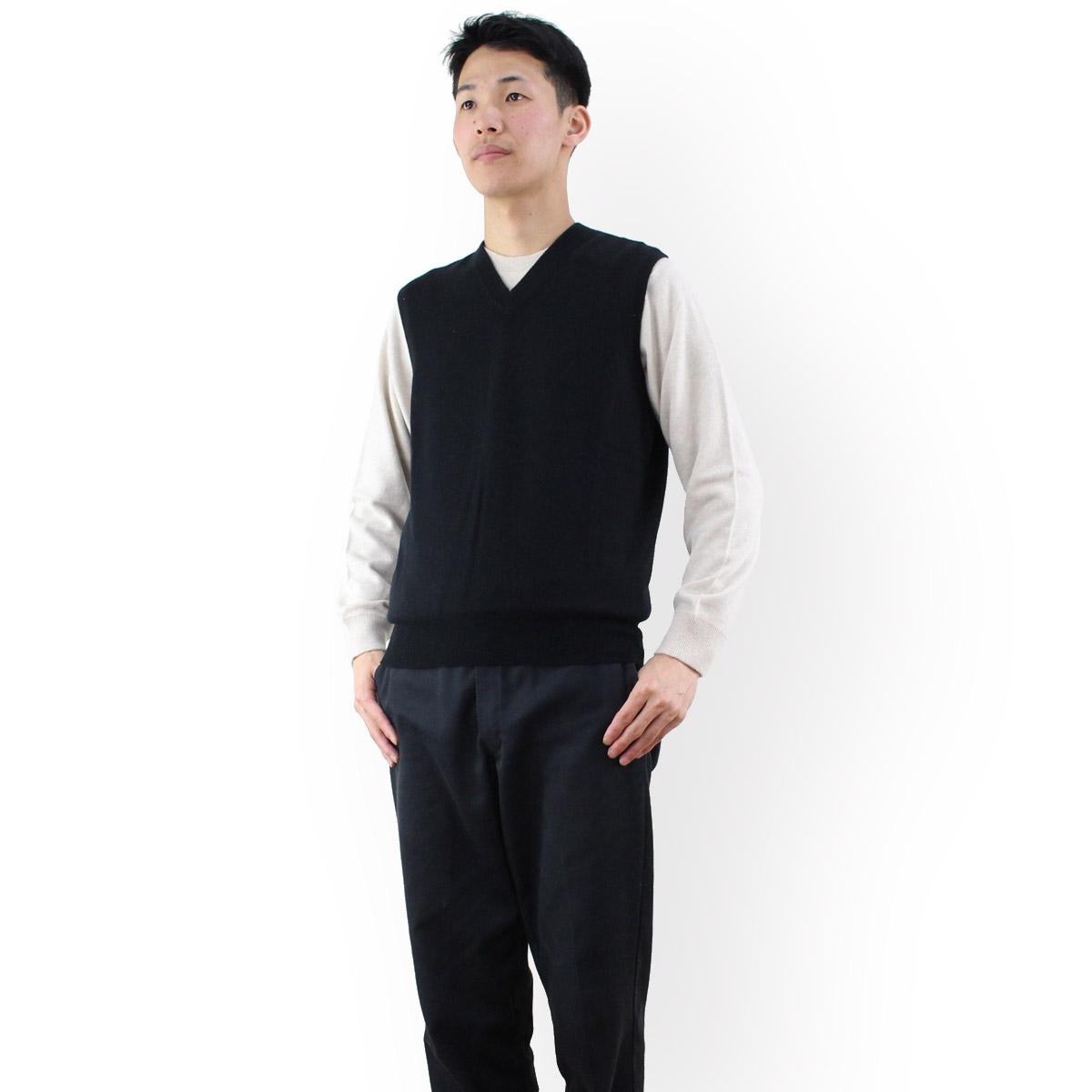 ルナリアカシミア Lunaria Cashmere Model 106 1 ピュアカシミアニット Vネックベストメンズ カラー:ブラック  メンズ OLS-4 apparel-01
