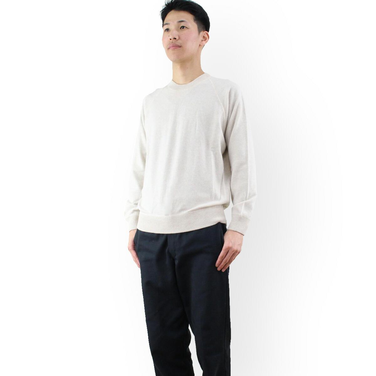 ルナリアカシミア Lunaria Cashmere Model 108 ピュアカシミアニットクルーネックセーターメンズ カラー: ベージュ OLS-4 apparel-01