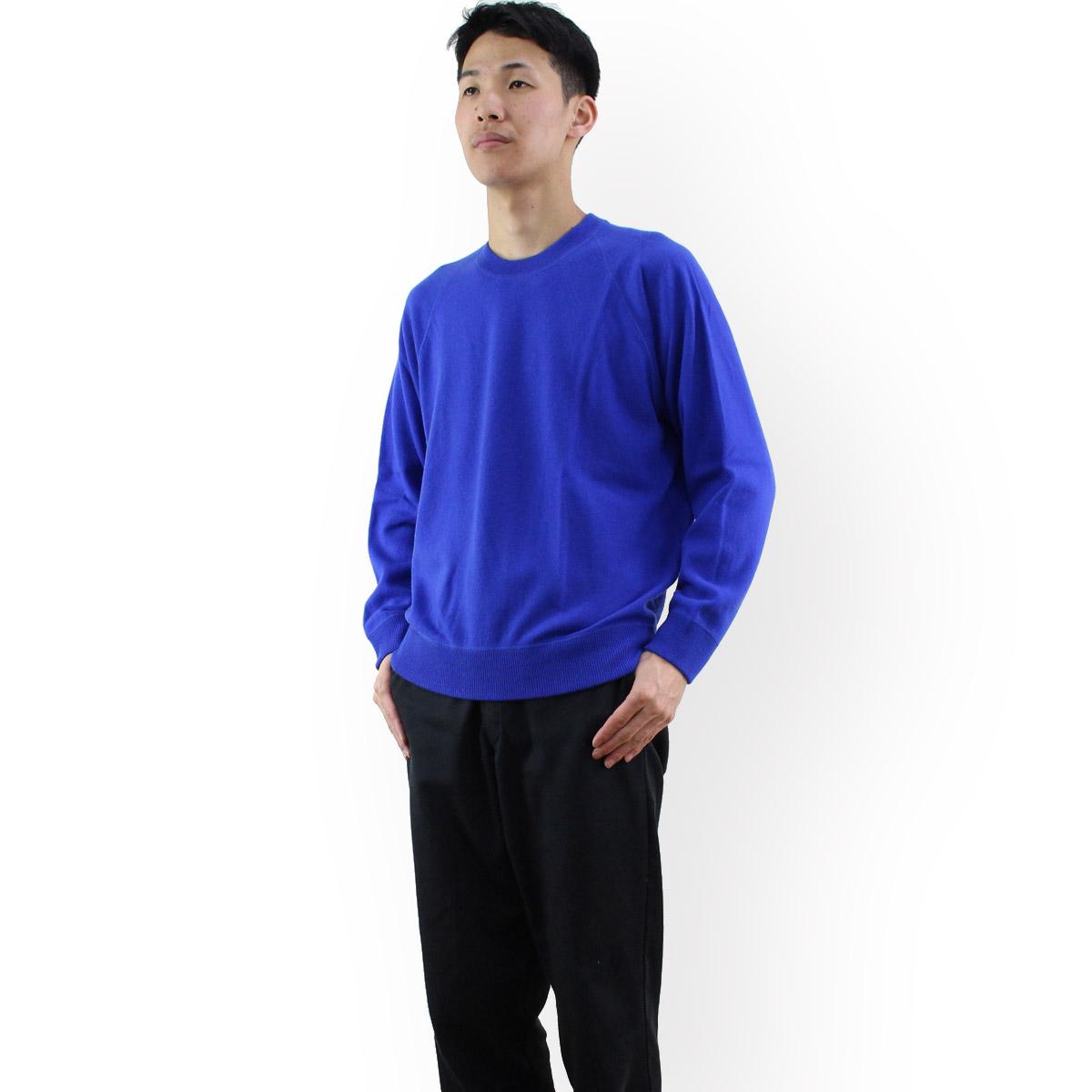ルナリアカシミア Lunaria Cashmere Model 108 ピュアカシミアニットクルーネックセーターメンズ カラー: ブルー OLS-4 apparel-01   big-01