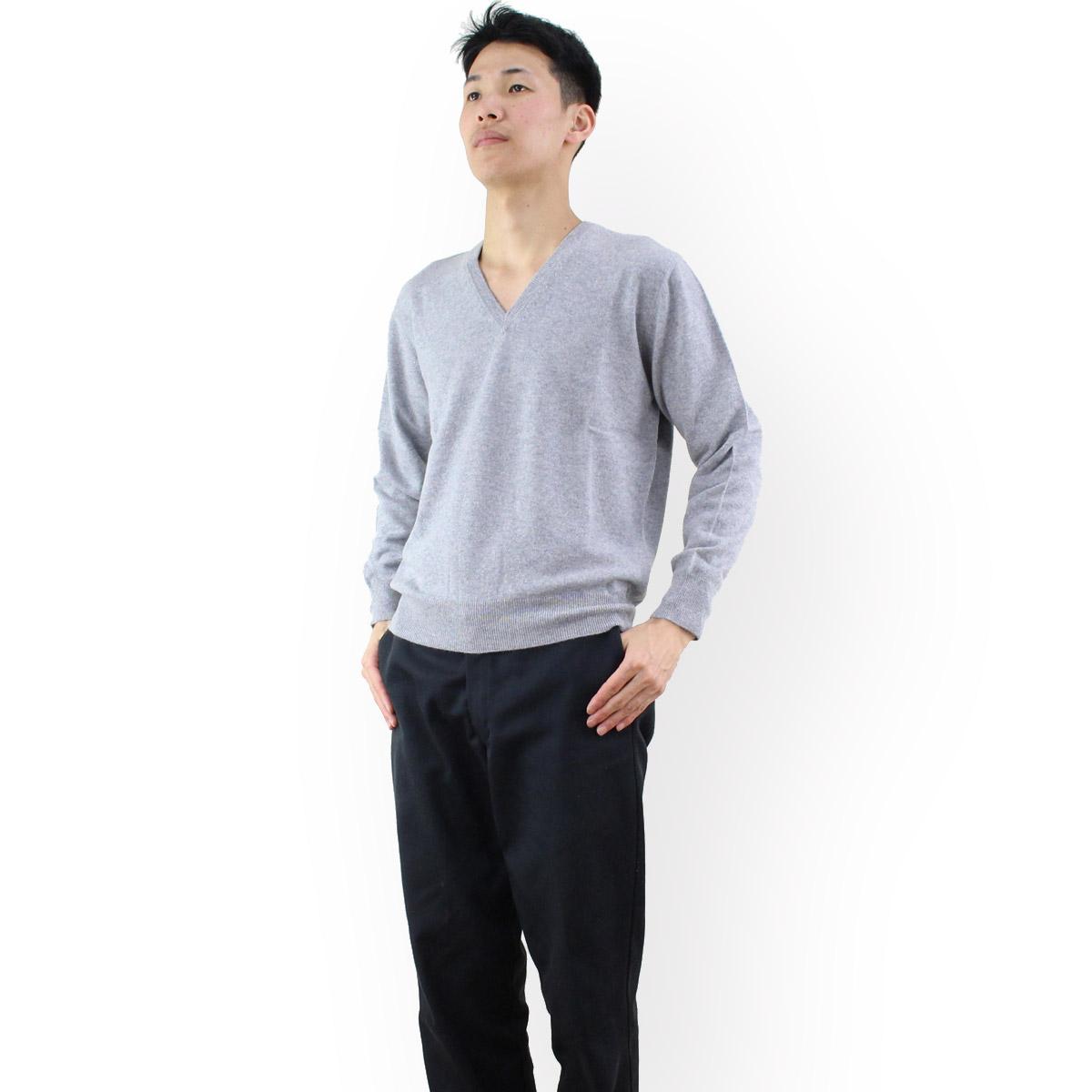 ルナリアカシミア Lunaria Cashmere Model 161 ピュアカシミアニット Vネックセーターメンズ カラー: グレー OLS-4 apparel-01