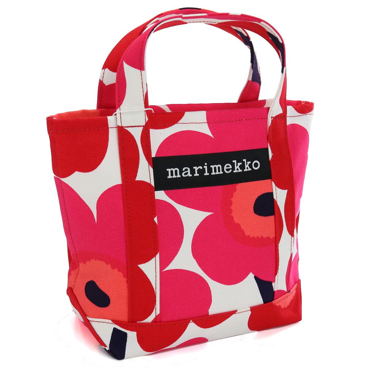 マリメッコ marimekko トートバッグ ブランドバッグ unikko ウニッコ 48294 001 レッド系 ホワイト系 bag-01