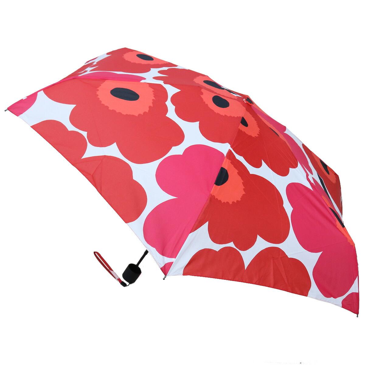 マリメッコ marimekko ウニッコ unikko カサ 傘 折り畳み傘 ブランド傘 ギフト プレゼント 無料ラッピング 48858 001 レッド系 ホワイト系