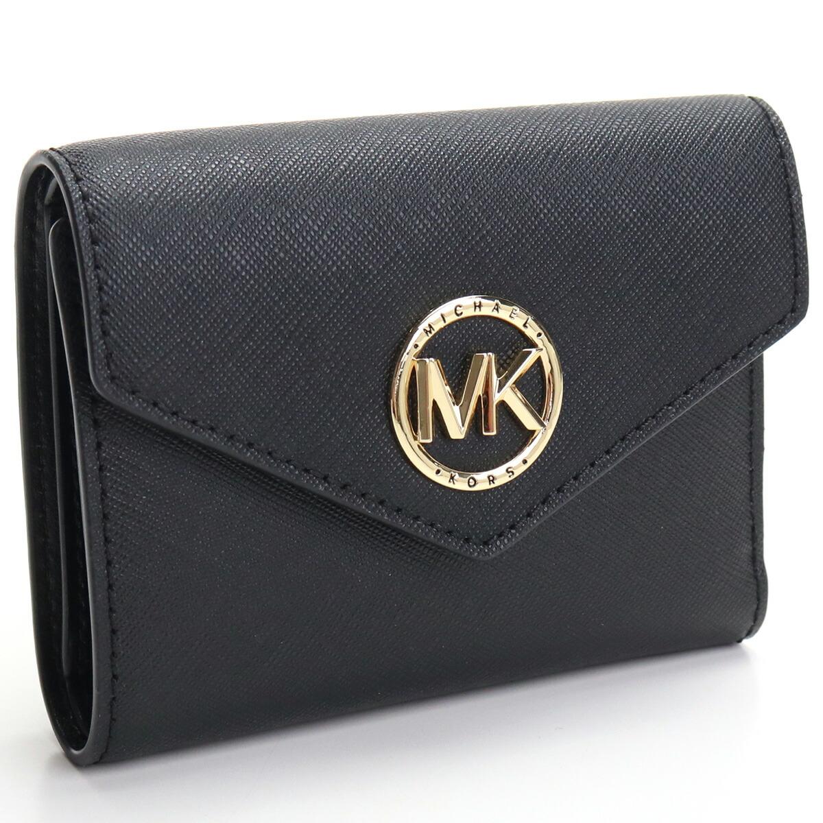 マイケル・コース MICHAEL KORS CARMEN 3つ折り財布 ミニ財布 コンパクト財布 ブランド財布 34S1GNME6L 001 BLACK ブラック gsw-2
