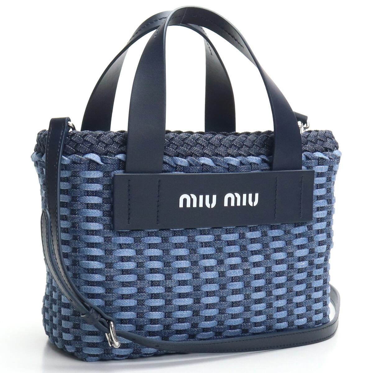ミュウミュウ MIUMIU トートバッグ 5BA077 2D64 V OI2 F0008 ブルー系 bos-32 kago-01 レディース