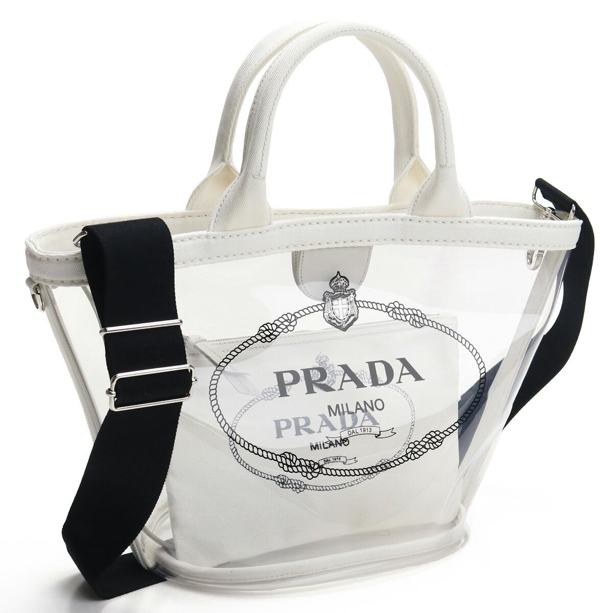 プラダ PRADA トートバッグ 1BG187 2BY5 V OOO F0009 BIANCO ホワイト系 クリア bos-08 bag-01 レディース