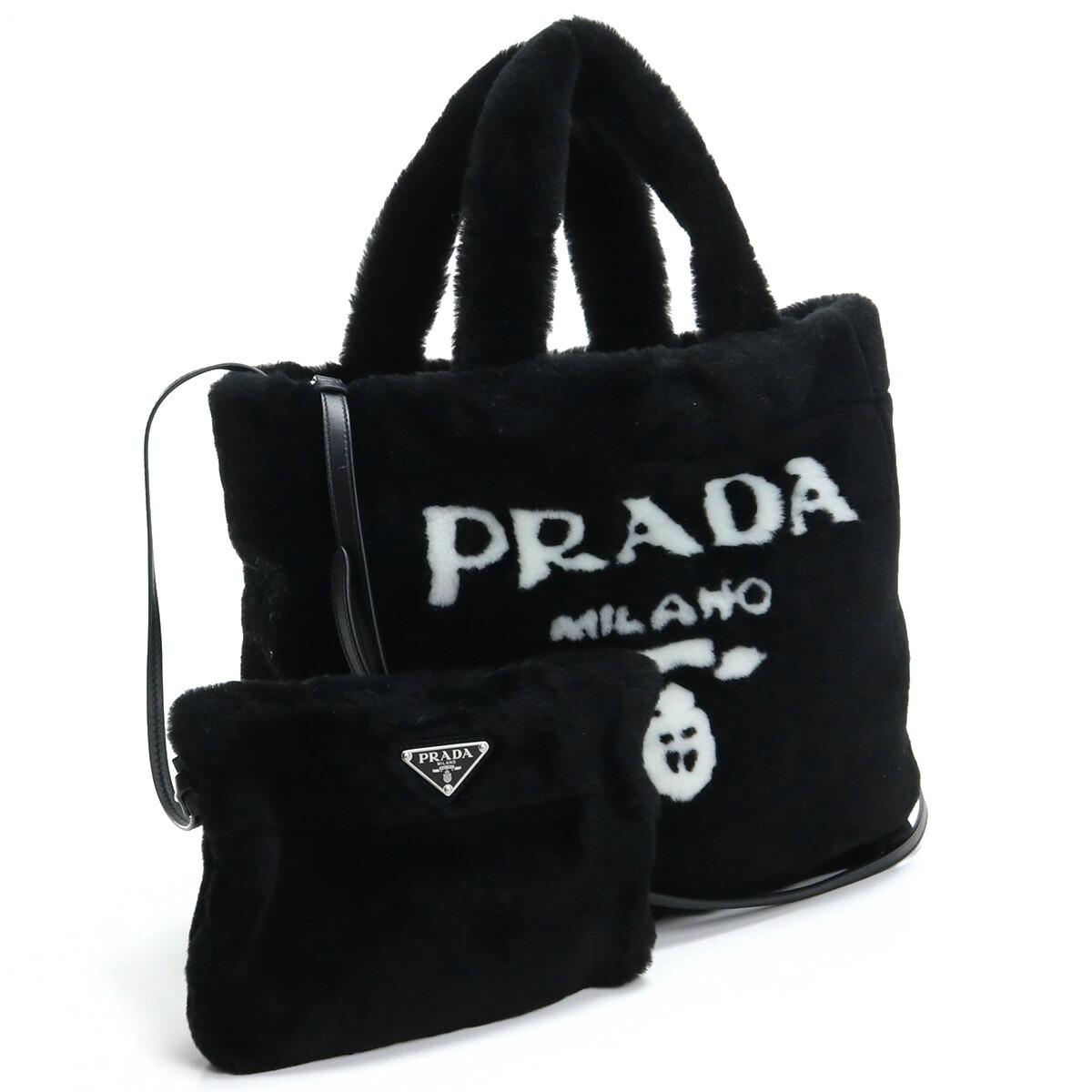 プラダ PRADA  トートバッグ ブランドバッグ ブランドロゴ ファ-バッグ 1BG374 2EC9 V MIO F0967 NERO+BIANCO ブラック bag-01