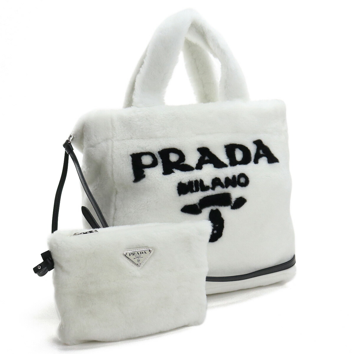 プラダ PRADA  トートバッグ ブランドバッグ ブランドロゴ ファ-バッグ 1BG374 2EC9 V MIO F0964 BIANCO+NERO ホワイト系 bag-01