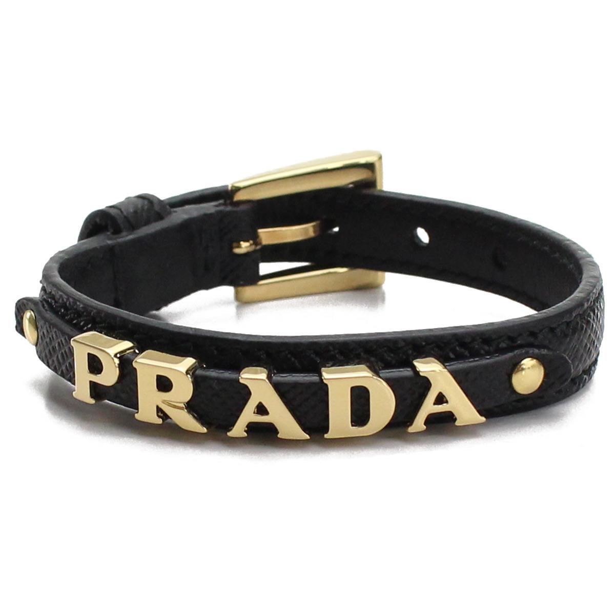 プラダ PRADA ロゴ入り サフィアーノ レザー ブレスレット 1IB217 053 F0002 NERO ブラック