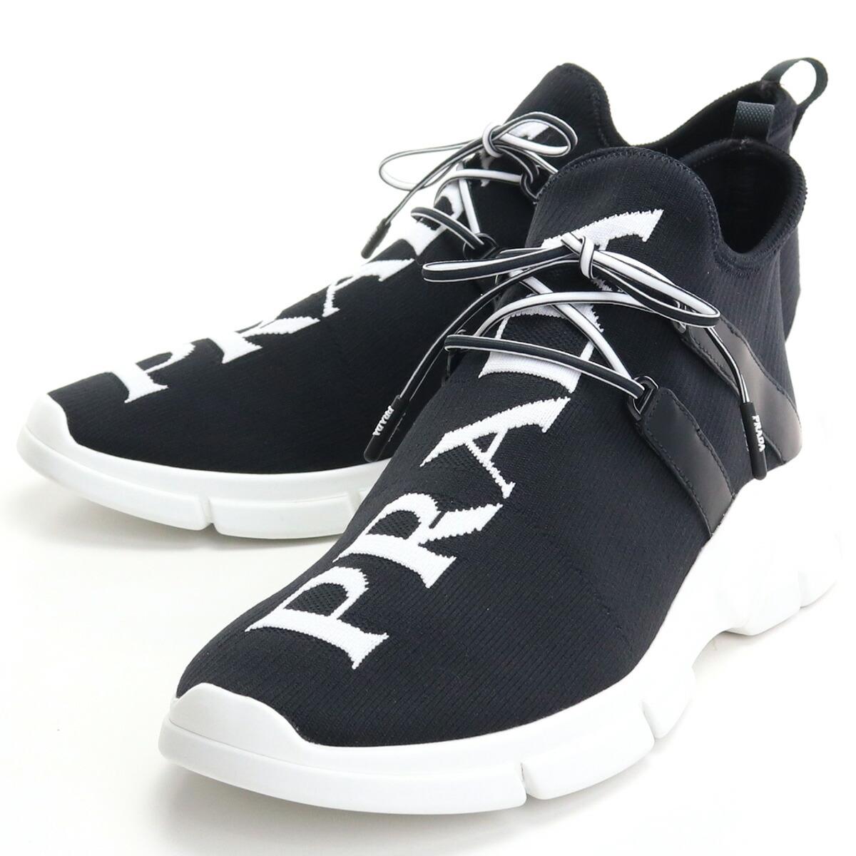 プラダ PRADA  メンズスニーカー ブランドロゴ ブランドスニーカー 4E3492 3LD8 F0967 NERO+BIANCO ブラック shoes-01