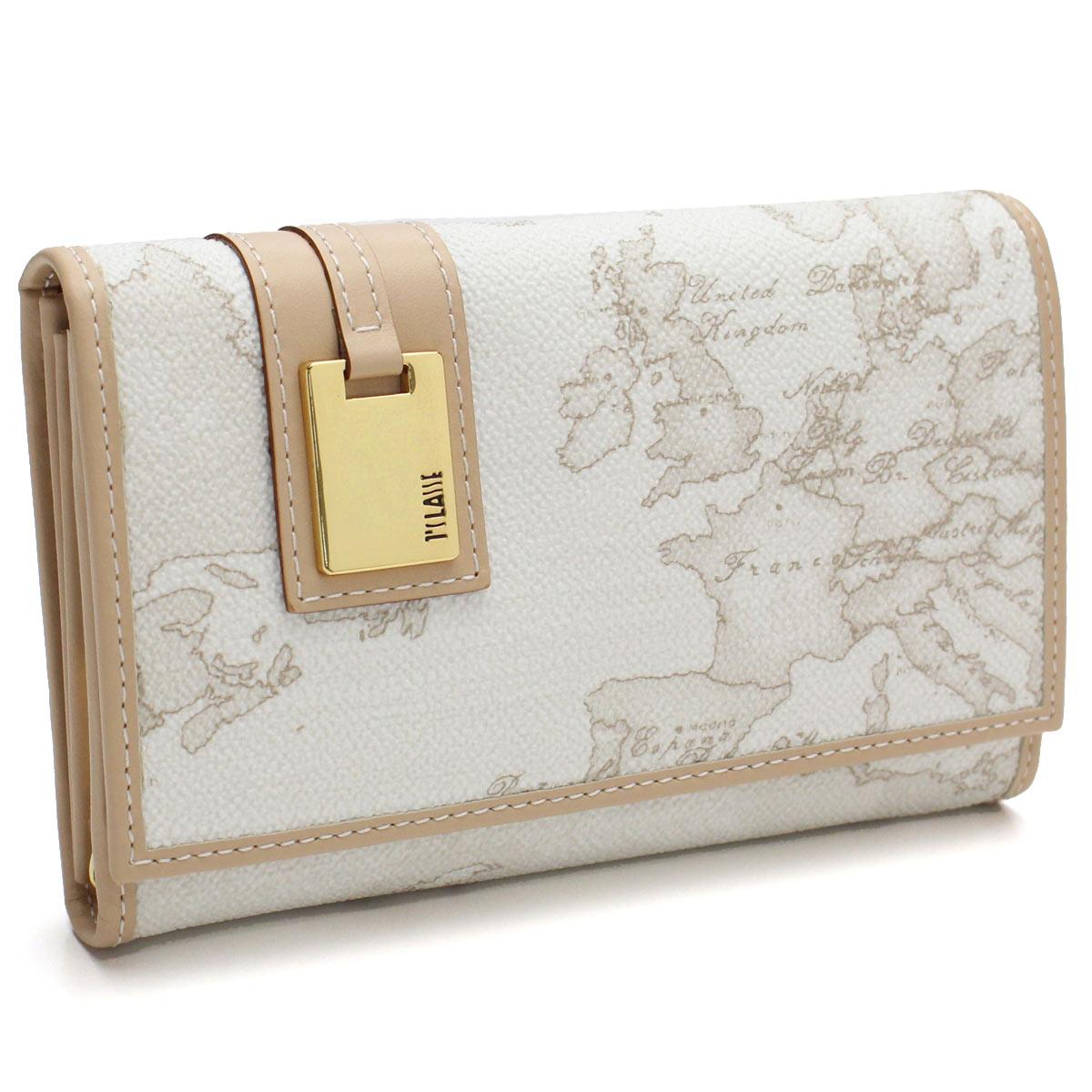 プリマクラッセ PRIMA CLASSE 財布 2つ折り財布 小銭入れ付き 地図柄 W025 6188 WHITE ホワイト系 ベージュ系 レディース
