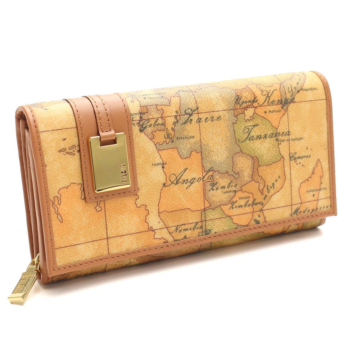 プリマクラッセ PRIMA CLASSE 財布 large Wallet二つ折り 長財布 小銭入付き W026 6000 ベージュ系/マルチカラー 地図柄 レディース