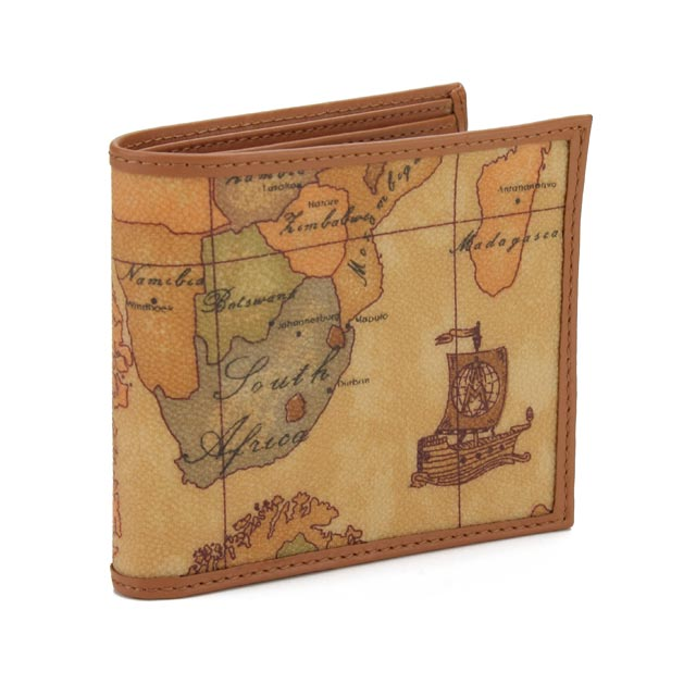 プリマクラッセ PRIMA CLASSE 財布 二つ折り 小銭入れ付 W103 6000 ベージュ系/マルチカラー 地図柄 メンズ