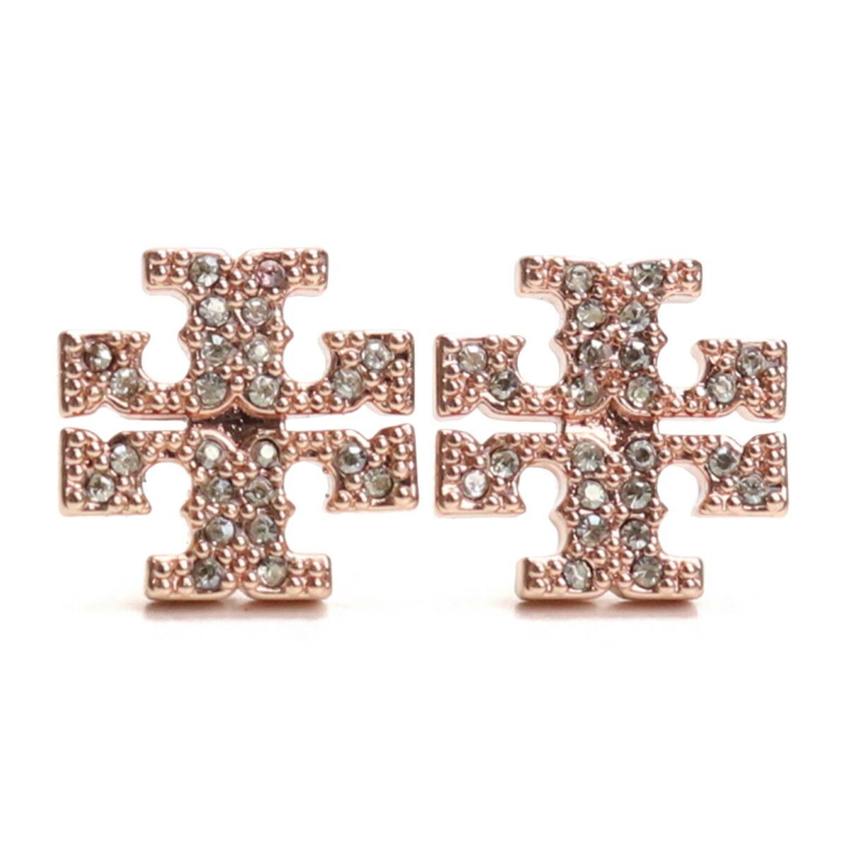 トリーバーチ TORY BURCH KIRA PAVE STUD EARRING ピアス ブランドアクセサー ブランドロゴ 53423 696 ROSE GOLD クリア系 accessory-01