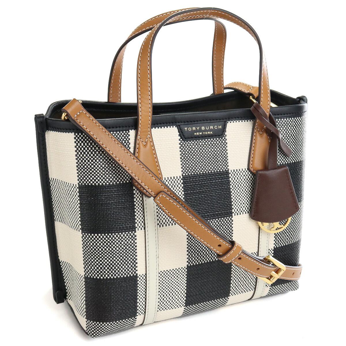 トリーバーチ TORY BURCH PERRY トートバッグ ブランドバッグ ブランドトートバッグ 81929 007 BLACK NEW IVORY GING ブラック ホワイト系 bag-01