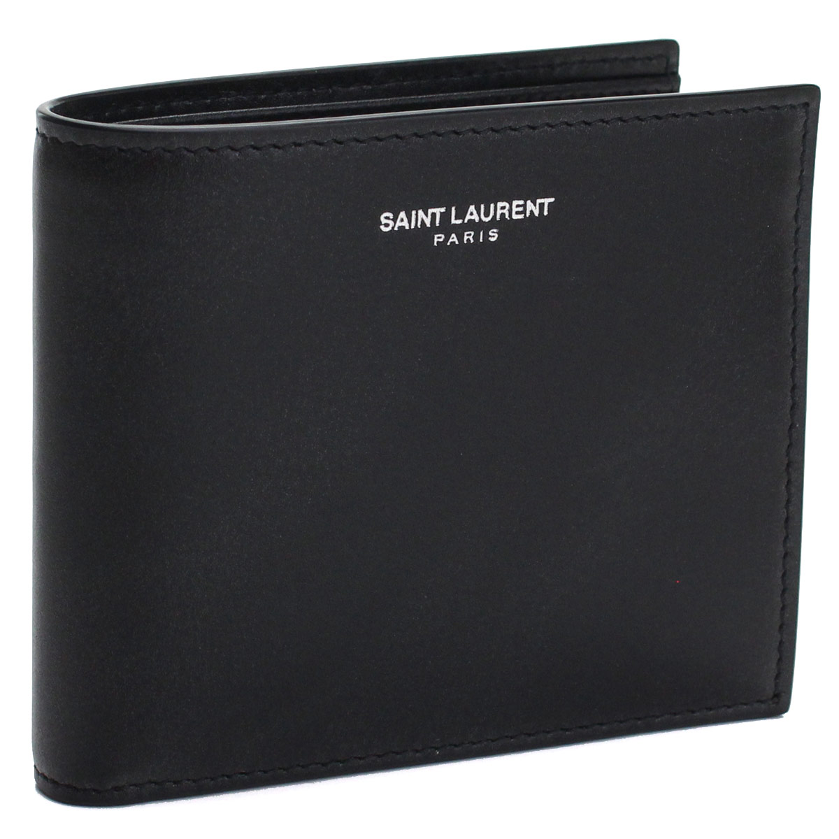 サンローラン SAINT LAURENT コンパクト財布 2つ折り財布 396303 0U90N 1000 ブラック メンズ