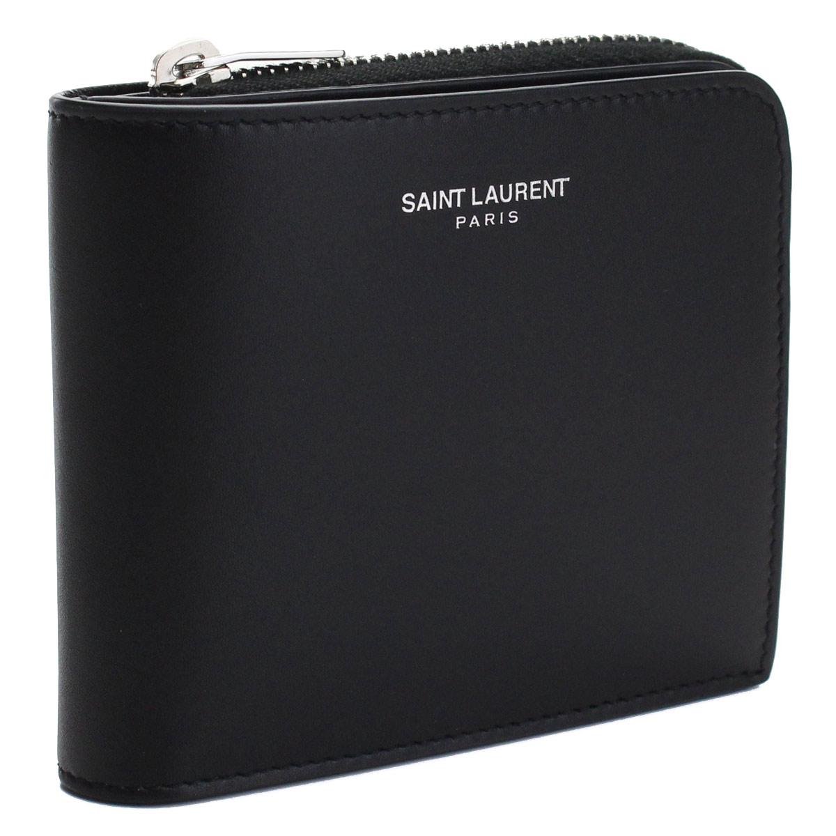 サンローラン SAINT LAURENT コンパクト財布 2つ折り財布 556268 0U90N 1000 ブラック メンズ